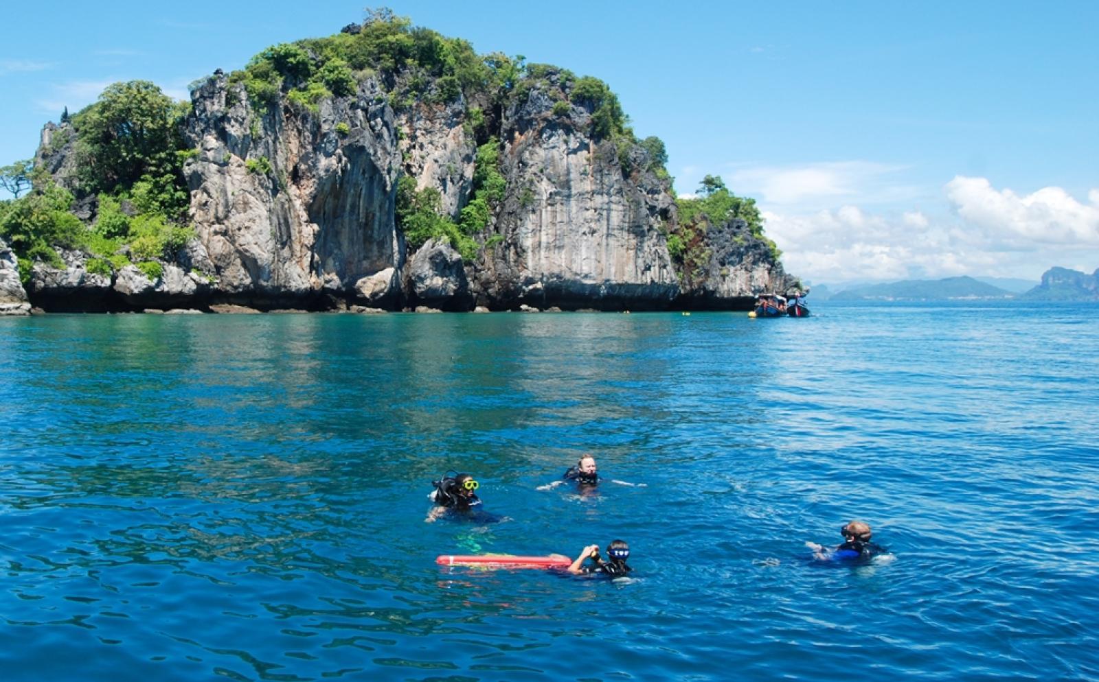 環境保護活動に取り組む高校生ボランティアがタイの海でダイビング調査にあたる